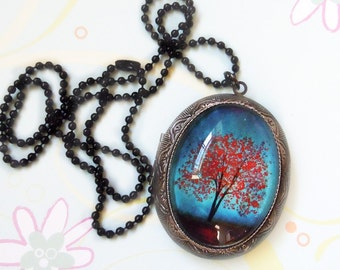Maple Fall Tree locket -- Wearable Art Silver Locket--Maple Fall Christmas gift.Mother's Day gift Valentine's Gift