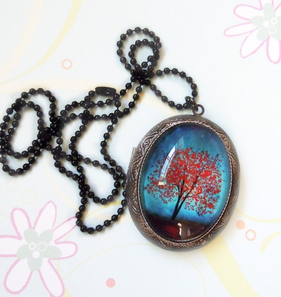 Maple Tree locket -- Wearable Art Silver Locket--Maple Fall Christmas gift.Mother's Day gift Valentine's Gift