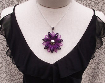 Deep Purple Necklace, Purple Flower Necklace, Purple Pendant Necklace, Large Flower, Purple Jewelry, Gift for Purple Lover, Gift for Mom