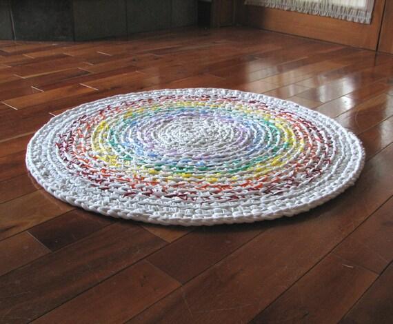 """30"""" Misty Rainbow  Crocheted  Rug"""