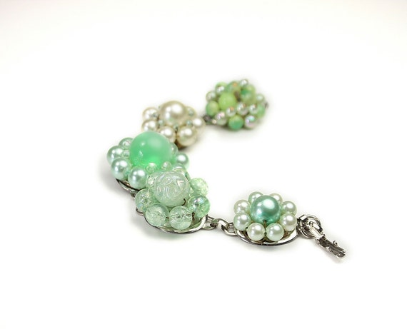 Vintage recycled bracelet . Upcycled, eco-friendly and one of a kind. Mint Chick.
