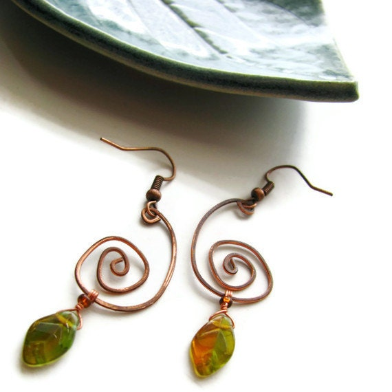 Primitive Coil Leaf Earrings Hammered Copper Wire Bohemian Rustic Nature Jewelry