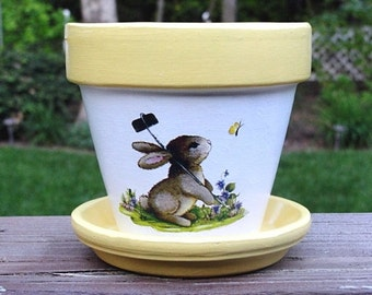 Bunny and Butterflies Four Inch Flower Pot