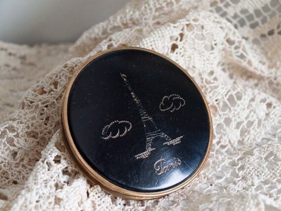 Antique Paris Compact / Made in France  /  Eiffel Tower