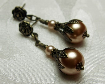 Champagne Mocha Gold Crystal Pearl Drop Victorian Earrings, Antiqued Bronze Filigree, Titanic Temptations Vintage Steampunk Bridal Jewelry
