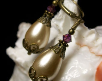 Ivory White Pearl Drop Victorian Bridal Earrings, Amethyst Purple Champagne Steampunk Dangles, Antiqued Brass, Titanic Temptations Jewelry