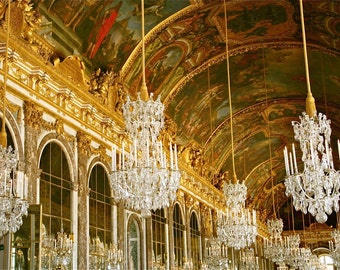 French Decor - Versailles Chandelier Photograph - Hall of Mirrors Paris Photography - Gold Crystal Reflection - Dining Room Wall Art