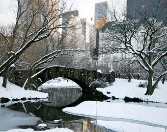Winter in New York City Photography - Urban Landscape - Snow Trees Ice Central Park Photo Home Decor Gray Grey Print Bridge Wall Art