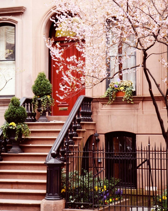 New York City Photography  - NYC Print - West Village Photo - Urban Home Decor - Red Door Wall Art - Cherry Blossoms - Front Steps