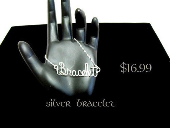 Personalized Wire Script Name Bracelet in 925 Sterling Silver