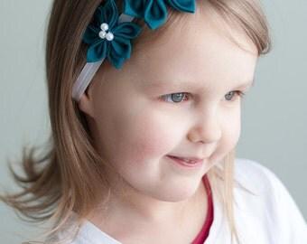 Teal headband - Aquamarine headband - flower girl hair band - Toddler girl headband - Birthday gift for girl - Infant headbands