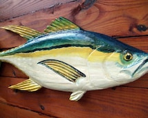 """Yellowfin Tuna 30"""" chainsaw wood taxidermy carving saltwater sport fish sculpture woodworking nautical original indoor/outdoor wall art"""