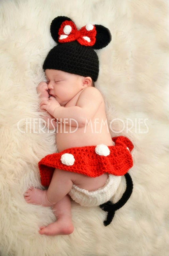 Minnie Mouse Beanie and Diaper Cover Set--Great Photography Prop/Baby Shower Gift/Halloween Costume/Choose Size