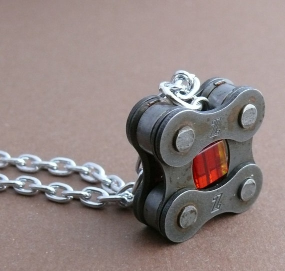 red bike jewelry, bicycle chain pendant red glass, tour de france inspired, bicycle love squared, upcycled bicycle chain, bicycle necklace