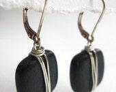 Black Wire Wrapped Stone Earrings, River Stones- Zen Garden