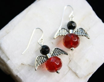 Red and Black Vintage Crystal Angel Wing French Wire Sterling Silver Earrings