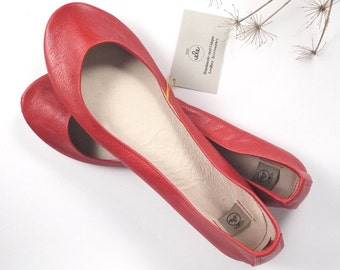 Red Soft Leather Handmade Ballerinas