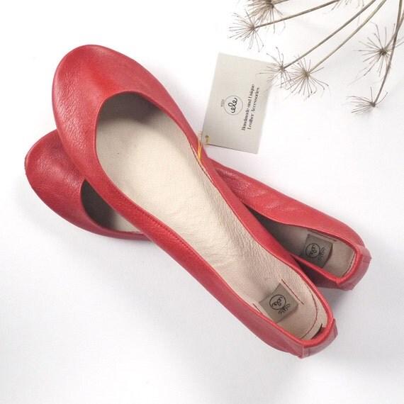 Red Soft Leather Handmade Ballerinas