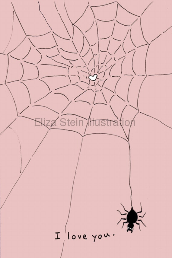 Pink Spider Valentines Day Card, I Love You Card, Weird Valentine Card, Spiderweb, Pale Goth, Blank Greeting Card