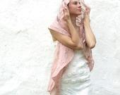 Dusty rose shawl scarf for all seasons felting wool luxury cape wedding bridesmaid idea for her summer fashion cij
