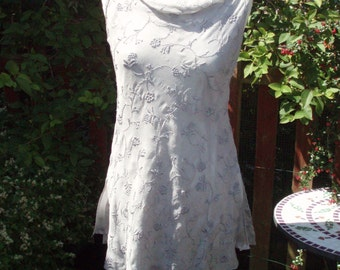 Fine pale silver grey silk delicately embroidered top by Whistles, England UK size 8