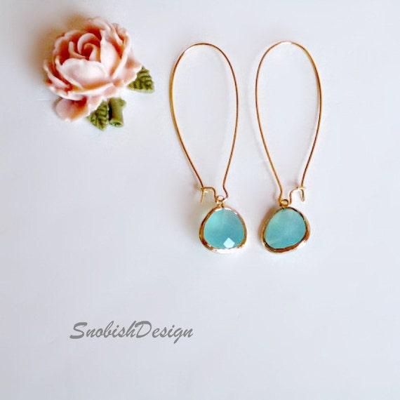 Aquamarine Bezel Set Earrings, Long Drop Mint Earrings, Dainty Gold Earrings, Simple Minimalist Earrings, Everyday Minimal Earrings, Wedding