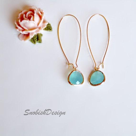 Aquamarine Earrings, Long Earrings, Gold Earrings, Drop Earrings, Minimalist Earrings, Wedding Jewelry, Bridesmaid Earrings, Gift for her,