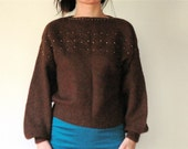 RESERVED vintage women dark chocolate brown princess puff sleeve batwing cropped sweater (small)