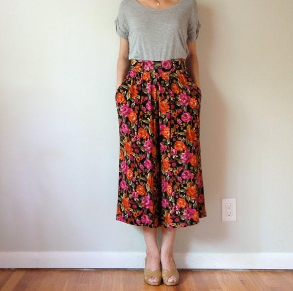 vintage women hot pink orange black flowers printed high waisted midi calf wide leg pants palazzo culottes gaucho (small - medium, 4 6 8)