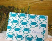 Multi blue crab thanks - folded blank note cards - 10 pack