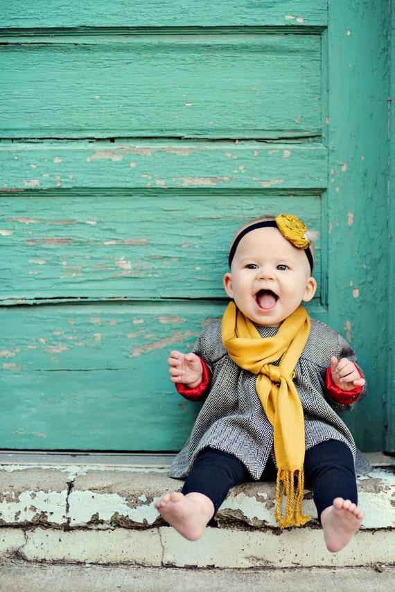 Yellow Rosette Headband....Baby Rosette Headband...Newborn Rosette Headband...Headband.. Photography Prop...mustard yellow...black..AILI