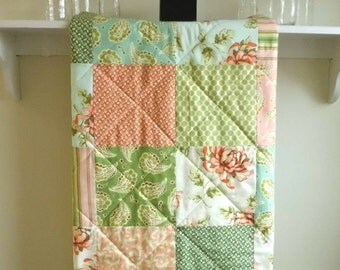 Baby Girl Floral Quilt, Modern, Crib Quilt, Minky Back, Handmade, Toddler Quilt, Patchwork, Cottage Chic, Coral, Aqua, Sage - Painted Mums