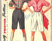 4746 UNCUT 1950's Women's Shirt and Shorts Vintage Sewing Pattern Simplicity 4746 Bust 31