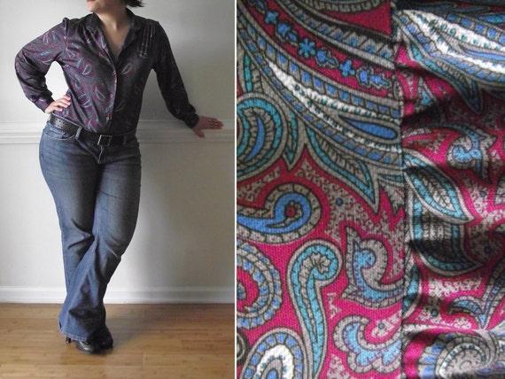 Reserved for C  /  70s Paisley Shirt / 1970s Disco Era Secretary Blouse Silky Top Womens Boho Vintage Magenta Teal Print L Plus Size Blouse
