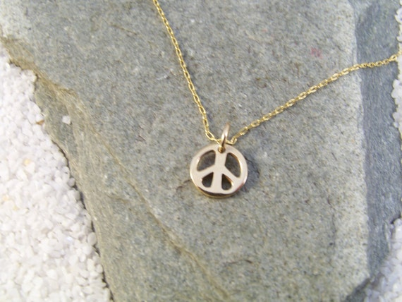 Small Peace Sign Necklace-Natural Italian Bronze-Moonstone-Yoga Necklace-Gift