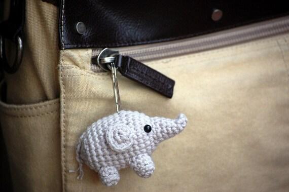 Amigurumi  Elephant Baby Gray Key Chain Zipper Pull