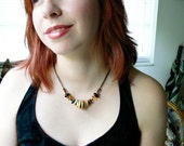 Nature Walk Ceramic Necklace In Amber and Black