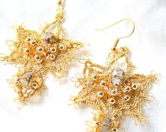 Tatting Fiber Gold Beaded Chandelier Earrings