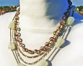 1993 Multistrand Silver Tone Chain, Quartz and Facited Rosary Style Beaded Necklace