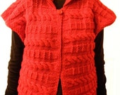Woman VEST, Hand knitted, Red Cabled, Free Shipping, Valentine's Day Gift