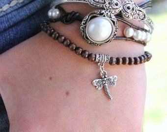 "White Pearl Boho Leather Wrap Bracelet ""White Lady"" - Bohemian Chic Jewelry"