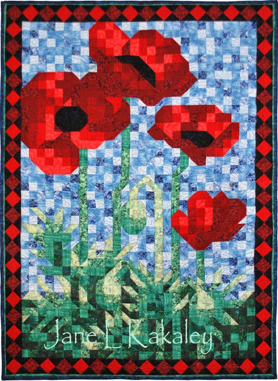 Quilt Pattern - PDF - Poppy Mosaic Art Quilt Pattern - Immediate Download