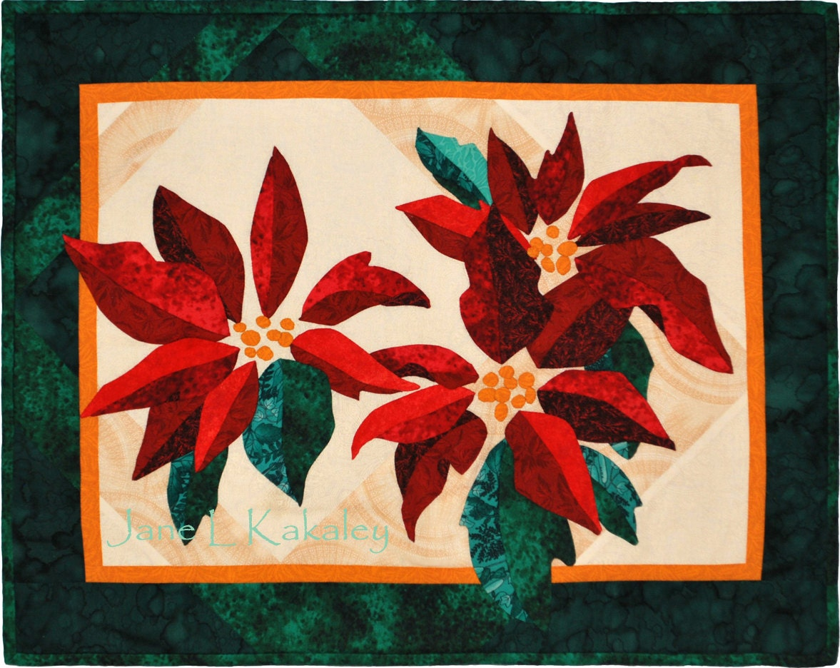 Quilt Pattern Poinsettia Applique Christmas Wall Hanging