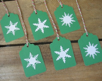 Snowflake Gift Tags, Set of SIX, White Snowflake & Christmas Green Gift Tags, Christmas Snowflake Gift Tags, Holiday Tags SnowNoseCrafts