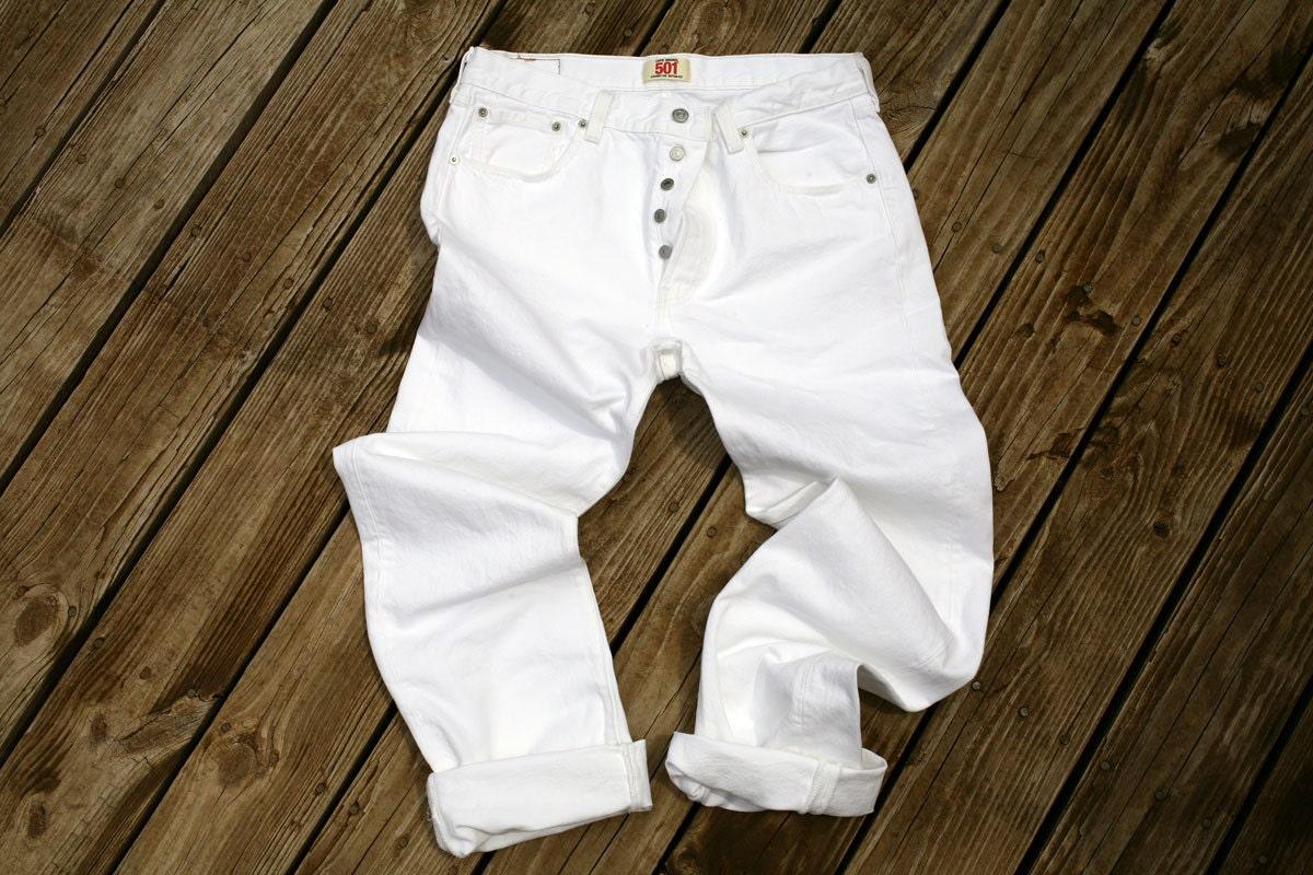 vintage white levis 501 jeans mens 33w 34l
