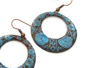 Copper earrings, blue, mint, round, hoops, pattern, oxidised, patinated, donut