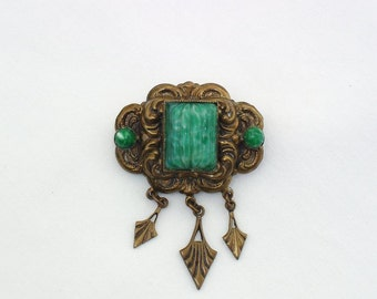 Antique Brooch, Egyptain Rivival Jewelry, Victorian Brooch, Scarab Pin, Dangle Charms, Peking Glass Beaded Pin