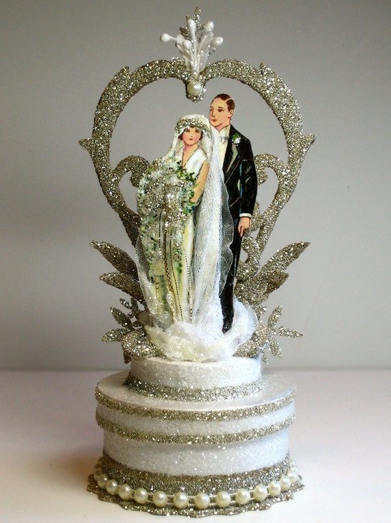 1920s Garden Deco Wedding Cake Topper