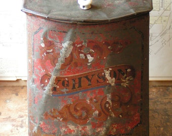 Antique Large Red General Store Tea Tin marked Y.g. Hyson - French Country Kitchen Decor