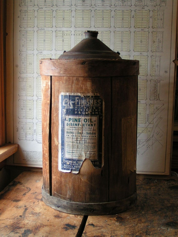 Vintage Pine Oil Cleaning Container - Great Laundry Room Decor